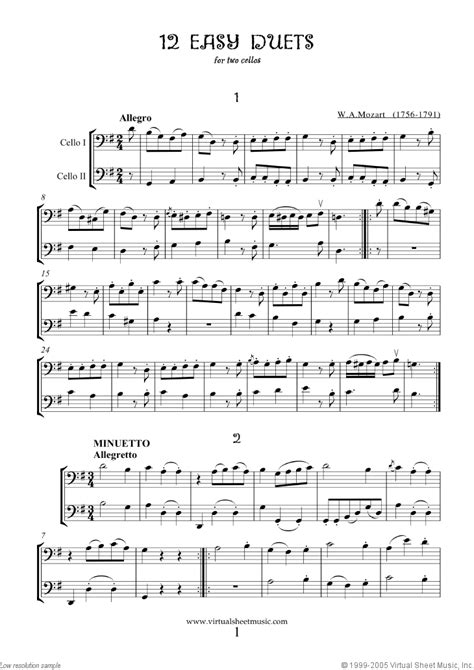 Mozart - Easy Duets sheet music for two cellos [PDF