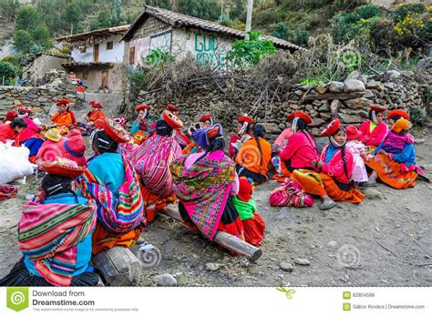 Quechua Women Working In A Village In The Andes
