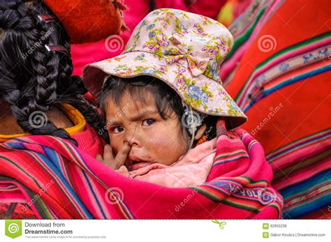 Quechua Baby In A Village In The Andes, Ollantaytambo