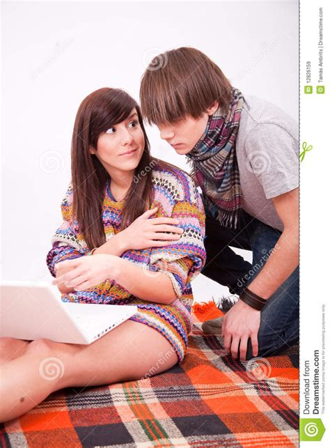 Beautiful Teen Girl And Boy With Computer Royalty Free