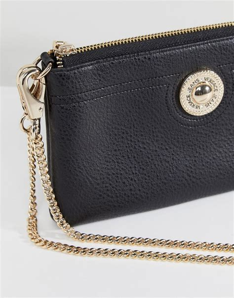 Lyst - Versace Jeans Going Out Purse With Gold Chain in Black